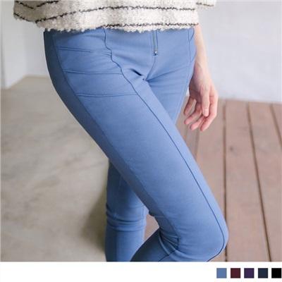 0313新品 視覺心機~顯瘦側邊剪接輕刷毛拉鍊修身長褲.5色
