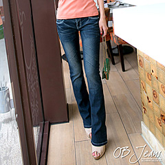 0122新品 復古美型~嚴選韓版藍黑仿舊小喇叭牛仔褲