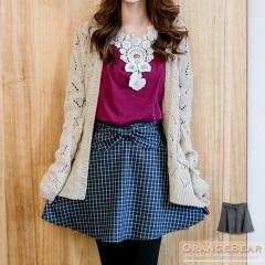 1023新品 甜美學院~格紋布料蝴蝶結裝飾美型短裙.2色