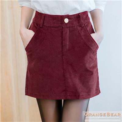 0112新品 素色燈芯絨美型褲裙.4色