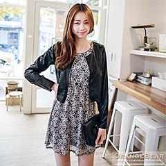 1117新品 上流名媛~附別針皮革外套+蕾絲洋裝兩件式組合‧2色