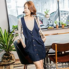 0915新品 清新魅力~娃娃剪裁修身無袖牛仔洋裝.2色