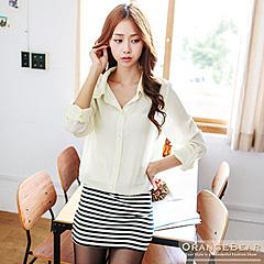 1017新品 知性美型~襯衫拼接條紋下擺修身反折袖長版上衣/洋裝.2色