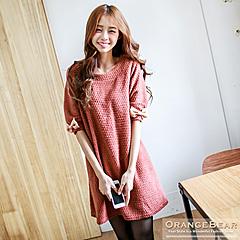 1021新品 絕美浪漫~質感面料袖口蝴蝶結裝飾洋裝.2色