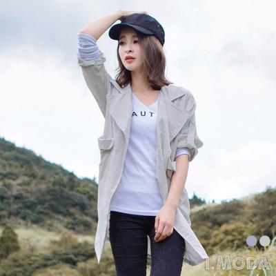 質感結構~雙釦條紋翻領立體口袋反折袖長版外套.2色