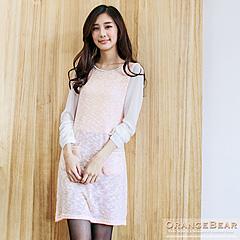 0919新品 輕甜誘惑~雙色混毛料拼雪紡袖鍊條裝飾長版上衣.2色