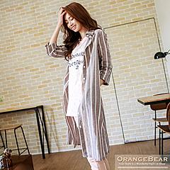 0918新品 清新格調~直條紋修身美型長版洋裝.2色