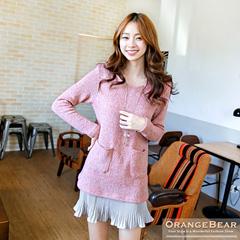 1001新品 甜嫩魔力~質感毛料拼接撞色百褶下襬洋裝.2色