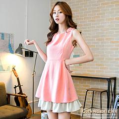 0924新品 高雅品味~質感面料公主線高腰剪裁層次感無袖洋裝.2色