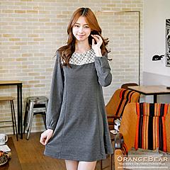 0930新品 甜美雅緻~質感面料拼接緹花修身剪裁洋裝.2色