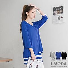 1022新品 時髦好搭~素色前短後長拼條紋內搭假兩件長版上衣.3色
