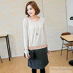 1017新品 溫柔lady~質感面料打褶拼接層次感長袖洋裝.2色
