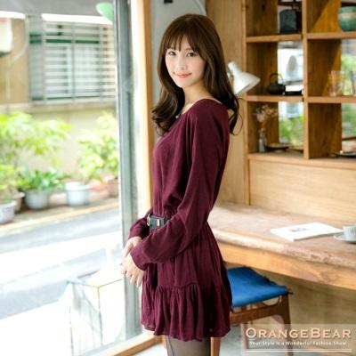 純粹優雅~素色細摺傘襬連袖長版上衣.2色