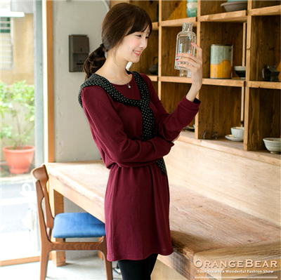 可愛素雅~附圓點帽披肩素色高腰鬆緊洋裝.2色