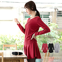 1120新品 優雅視覺~V領側邊抓皺剪接圓傘襬長袖洋裝.3色