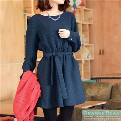 0309新品 知性美感~附腰帶格紋高腰鬆緊長袖洋裝