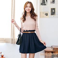 0929新品 純色甜度~嚴選韓版輕雅針織撞色皮帶縮腰連身洋裝.2色