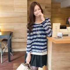 1001新品 清新質感~橫條織紋假兩件連身洋裝‧3色