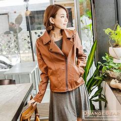 0216新品 時髦細緻~側開拉練翻領合身剪裁皮革外套.4色