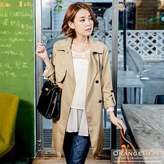 1119新品 風尚主義~附腰帶斜紋翻領質感反折袖長版風衣外套.3色