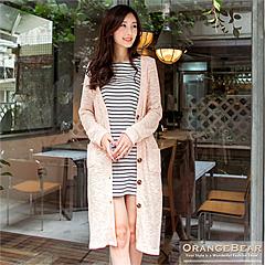 1022新品 輕柔印象~雙色編織開襟長版外套.3色