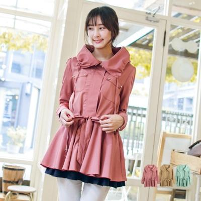 輕巧美型~大立領暗門襟抽繩反褶袖長版外套.3色