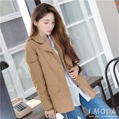 個性時尚~斜紋挺拔翻領內抽繩夾克外套.2色