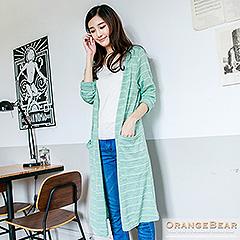 1024新品 微甜氣勢~雙色混織條紋開襟長版外套.3色