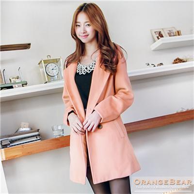 細膩美型~毛料雙排釦翻領兩片袖長版外套.3色