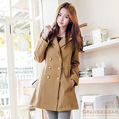 1001新品 優雅美型~雙排釦翻領公主線修身長版大衣.2色