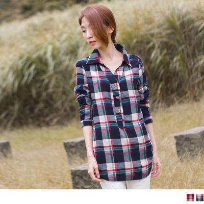 0518新品 個性魅力~格紋質感面料開襟反折袖上衣.2色