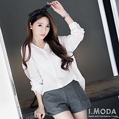 0528新品 清幽休閒~輕薄質感前短後長反折袖連帽上衣.3色