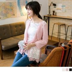 1027新品 優美柔光~珍珠蕾絲緹花拼接翻領抽繩七分袖外套.3色