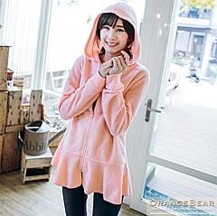 1002新品 可愛柔感~輕刷毛圓襬設計連帽長版外套.3色