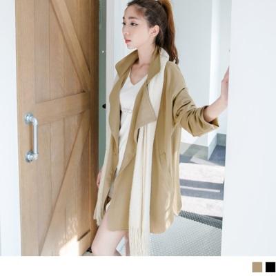 1212新品 時尚品味~質感面料翻領落肩長版外套.2色