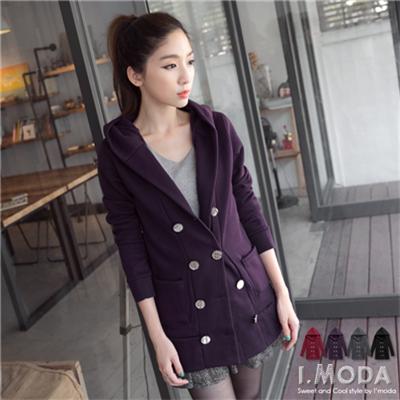0216新品 上質暖感~雙排金屬釦造型內刷毛連帽長版外套.4色