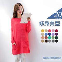 修身美型~糖果系落肩雙口袋設計針織上衣.20色