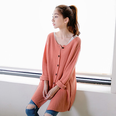 0213新品 輕穿美學~正反兩穿長版針織外套/上衣.3色