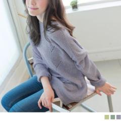 0916新品 清幽品味~微鏤空造型落肩針織長版上衣.3色