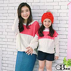 0915新品 針織/親子裝系列~雙色菱型麻花落肩針織上衣.女3色