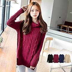 1024新品 細緻暖感~素色粗麻花開岔下襬鬆高領落肩針織毛衣.4色