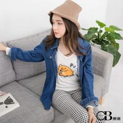 1007新品 純棉系列~橘醬燙印圖長袖V領T恤.女3色