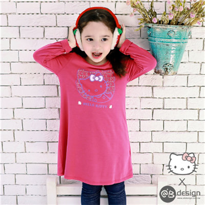 0616新品 HELLOKITTY保暖升溫~拼圖重疊洋裝‧童3色