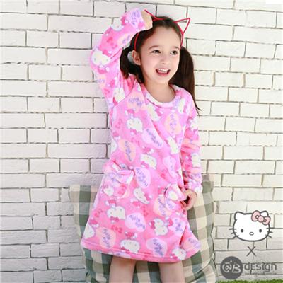 0616新品 HELLOKITTY極細緻柔膚珊瑚絨~滿版大頭童洋裝