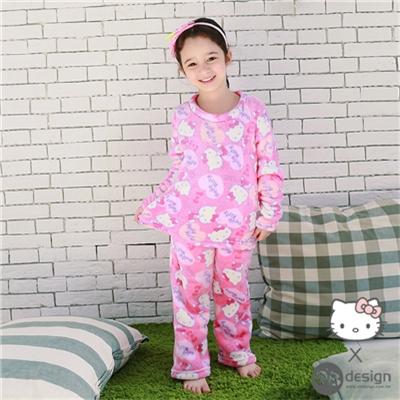 0616新品 HELLOKITTY極細緻柔膚珊瑚絨~愛心滿版童套裝