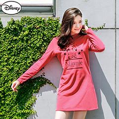 0915新品 迪士尼輕暖衛衣系列~米妮星星連帽長版T恤‧女3色