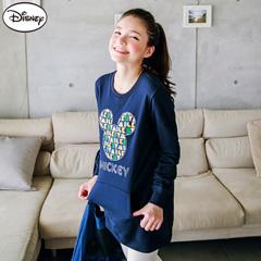 【迪士尼.歡樂秋祭】迪士尼輕暖衛衣系列~彩色字母米奇口袋長版T恤‧女3色