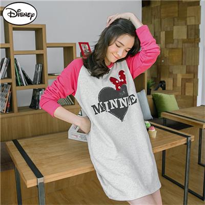【季節限定♥單件8折】迪士尼輕暖衛衣系列~米妮造型愛心棒球洋裝‧女3色