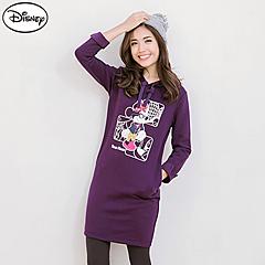 1008新品 迪士尼超保暖刷毛系列~時尚都風米妮連帽洋裝‧女3色