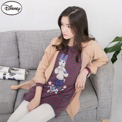 【迪士尼.歡樂秋祭】 迪士尼暖感彈力磨毛系列~條紋黛西刷毛口袋T恤.女2色